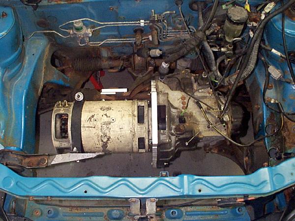 electric car motor. Forklift Motor Installed On Transmission Electric Car